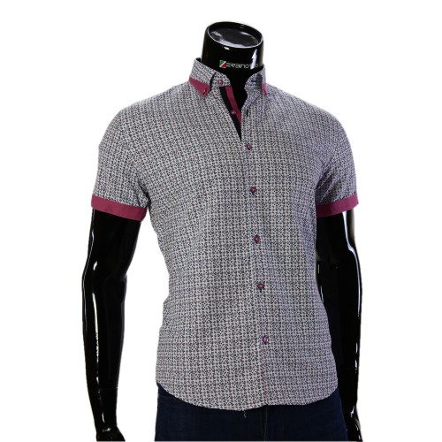 Мужская рубашка с коротки рукавом в узор GF 20296-3