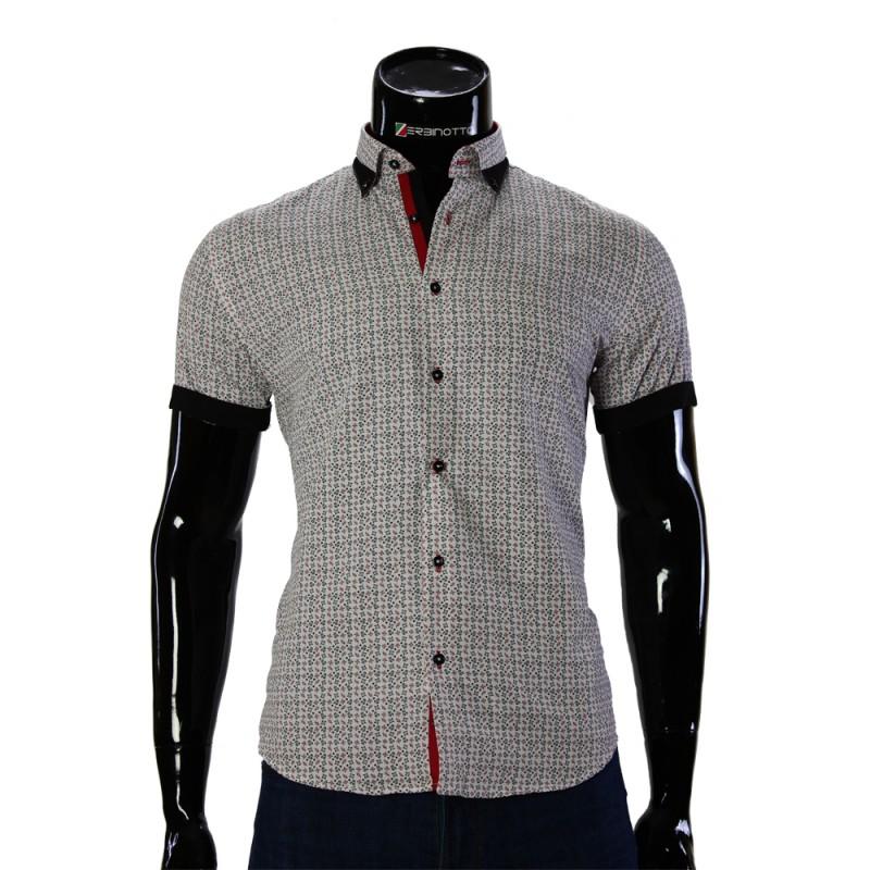 Мужская рубашка с коротки рукавом в узор GF 20296-4
